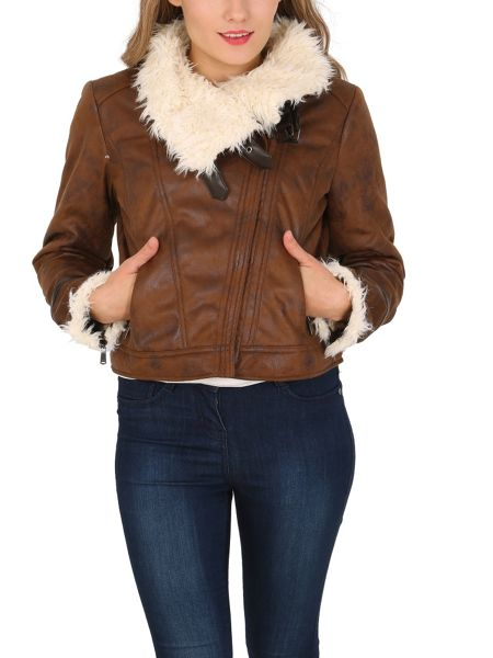 Izabel London Faux Sheepskin Biker Jacket With Buckles