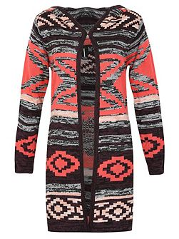 Long-Sleeved Print Knitted Cardigan
