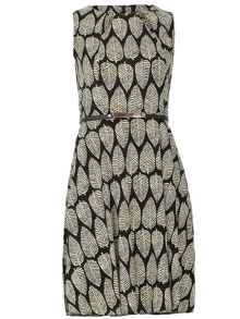 Izabel London Belted Leaf Print Dress