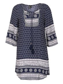 Izabel London Kaftan Style Woodblock Style Print Dress