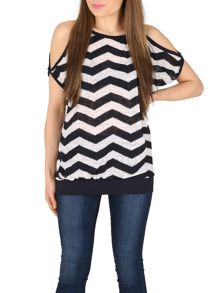 Izabel London Chevron Cold Shoulder Top