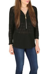 Izabel London Lace Knit Batwing Top with Oversized Zip Detail