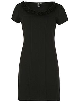 Tailored Bodycon Dress with 3D Ruffled Neckline