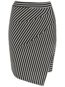 Izabel London Striped Wrap Front Skirt