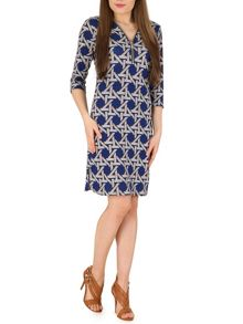 Izabel London Geometric Print Zip Dress