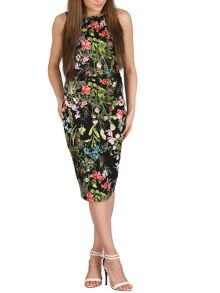Izabel London Tropical Print Pencil Dress with Ruched Detail