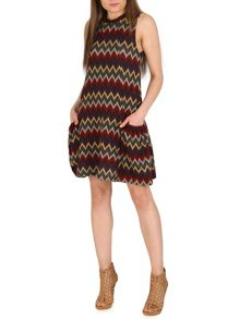 Izabel London Eastern Print Knit Swing Dress