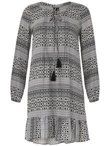 Izabel London Patterned Dress with Tassel Detail