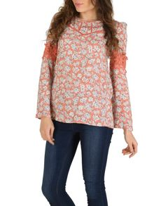 Izabel London Floral Tunic Dress With Lace Borders