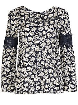 Floral Tunic Dress With Lace Borders