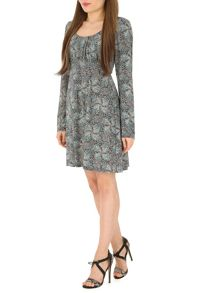 Izabel London Gathered Empire Line Dress with Tie Belt
