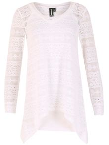Izabel London Oversized Crochet Tunic Top with Handkerchief Hem