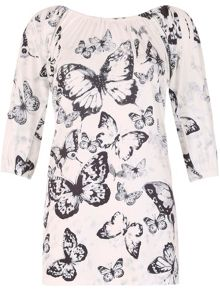 Izabel London Butterfly Print Dress with Rhinestones