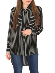 Izabel London Monochrome Stripe Blouse