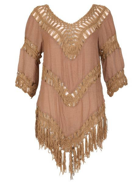 Izabel London Crochet Fringed Hem Top
