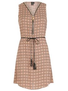 Izabel London Ethnic Print Shift Dress With Zip Detail