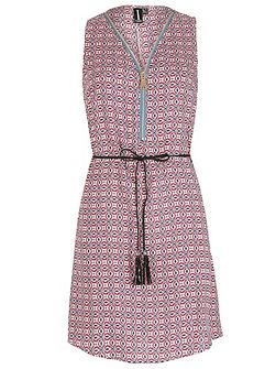 Ethnic Print Shift Dress With Zip Detail
