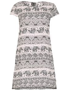 Izabel London Batik Style Elephant Print Tunic Dress