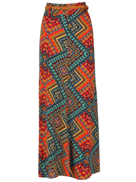 Izabel London Aztec Print Maxi Skirt