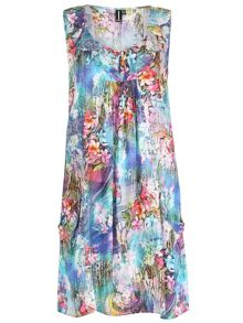 Izabel London Floral Tunic Dress With Ruffled Collar