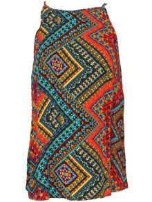 Izabel London Mayan Print Top With Halter Neckline