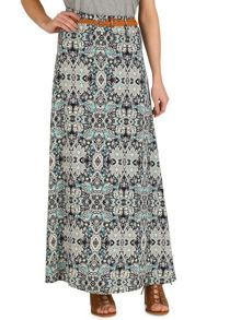 Izabel London Maxi Skirt With Fleur de Lys Style Print