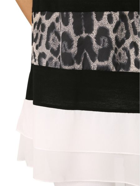Izabel London Leopard Print Panel Top