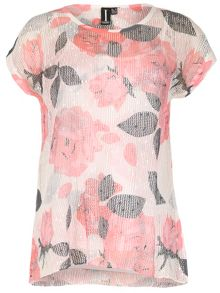 Izabel London Floral Print Oversized Net T-Shirt