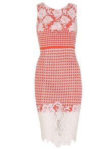 Izabel London Fitted Midi Dress with Floral Lace Overlay