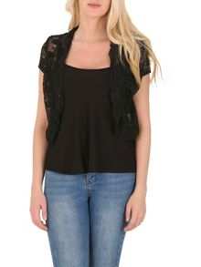 Izabel London Cropped Lace Bolero With Scalloped Edge