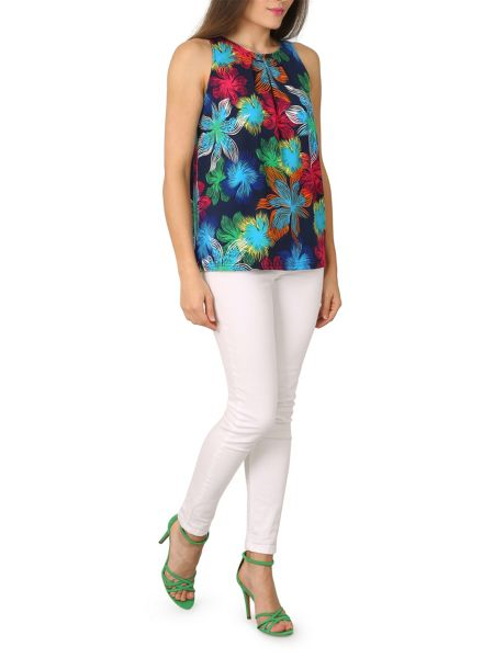 Izabel London Hibiscus Print Top With Pleat Detail