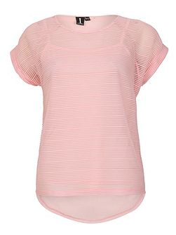 Mesh Top With Horizontal Stripe Texture