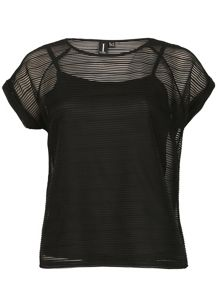 Izabel London Mesh Top With Horizontal Stripe Texture