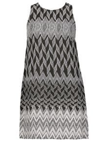 Izabel London Monochrome Broken Chevron Print Dress