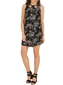 Izabel London Oriental Print Keyhole Panel Shift Dress