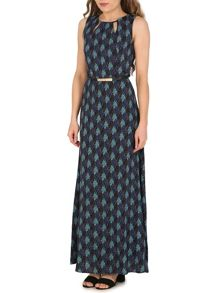 Izabel London Belted Maxi Dress with Palm Print