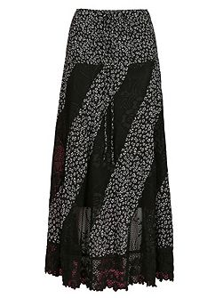 Floral Maxi Skirt With Lace Panels