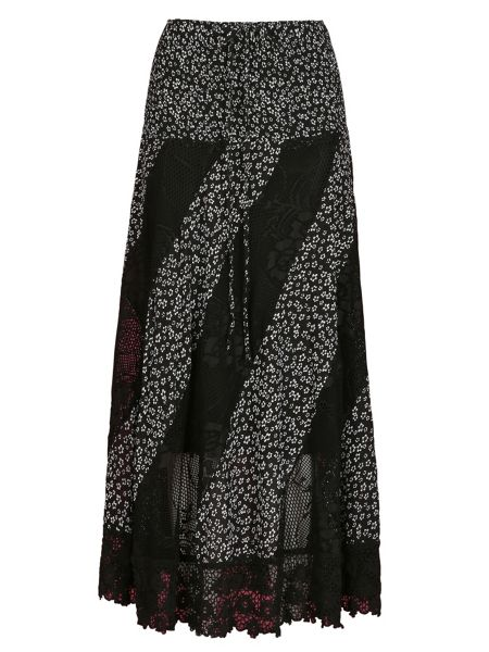 Izabel London Floral Maxi Skirt With Lace Panels