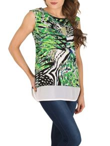 Izabel London Printed Contrast Hem Top