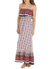 Izabel London Strapless Maxi Dress With Ruffled Trim