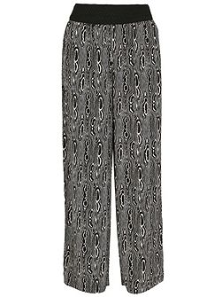 Optical Print Wide Leg Trousers