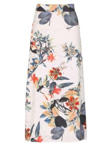 Izabel London Tropical Island Print Flared Midi Skirt