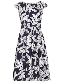 Pleated Occasion Dress With Palm Print