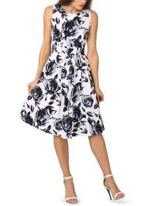 Izabel London Monochrome Pleated Occasion Floral Dress