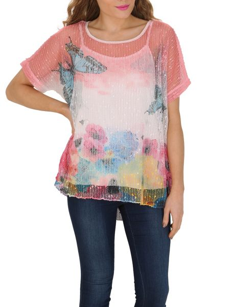Izabel London Floral Layered Knit Top