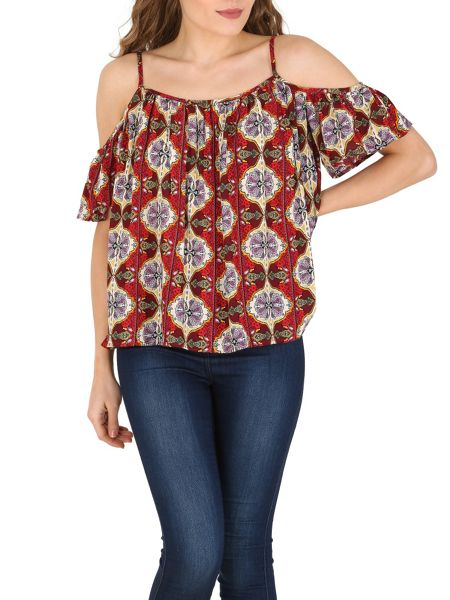 Izabel London Eastern Print Off The Shoulder Crop Top
