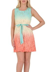 Izabel London Lace Fit and Flare Ombre Dress