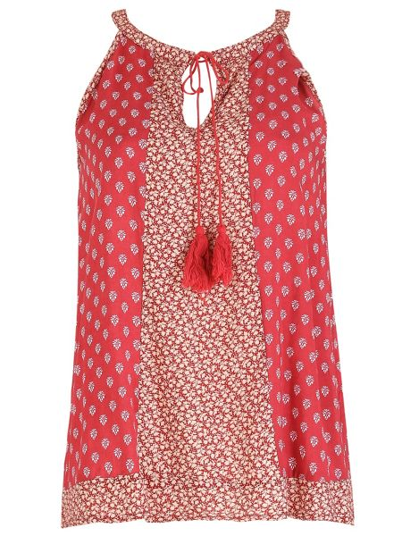 Izabel London Boho Camisole Top With Neck Tie