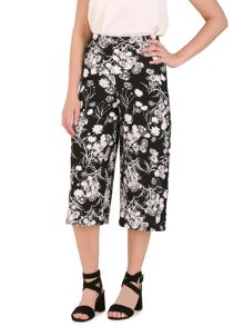 Izabel London Wide Leg Trousers With Poppy Print