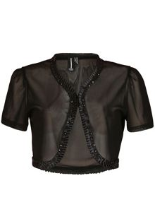 Izabel London Jewel Embellished Cropped Bolero